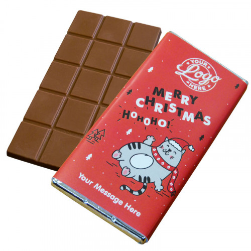 Promotional Milk Chocolate 80g Bar Wrapped in Silver Foil Finished with Ho-Ho-Ho! Christmas Fat Cat Wrapper