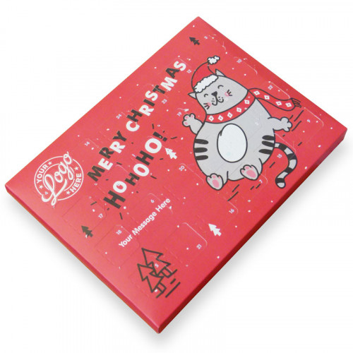 Promotional Desktop Milk Chocolate (Foiled Tray) Advent Calendar with Ho-Ho-Ho! Christmas Fat Cat - 48g