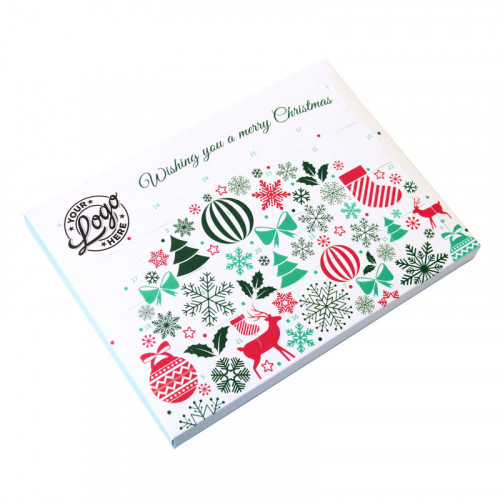 Promotional Desktop Milk Chocolate (Foiled Tray) Advent Calendar with Contemporary Christmas Wishes - 48g