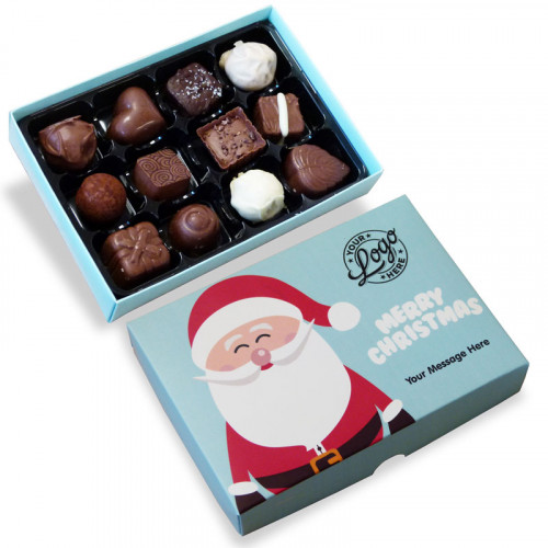Promotional 12 Chocolate Assortment Presented in a Ho-Ho-Ho! Jolly Father Christmas Box