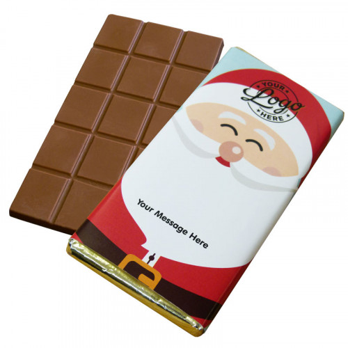Promotional Milk Chocolate 80g Bar Wrapped in Silver Foil Finished with Ho-Ho-Ho! Jolly Father Christmas Wrapper