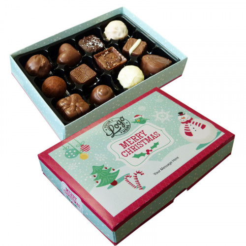 Promotional 12 Chocolate Assortment Presented in a Jolly Christmas Snowman Box