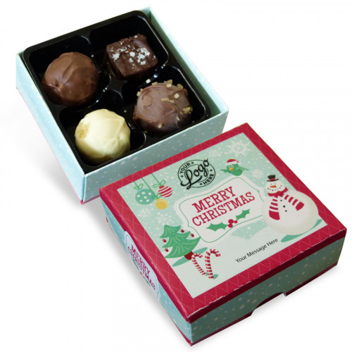 Promotional 4 Chocolate Assortment Presented in a Jolly Christmas Snowman Box