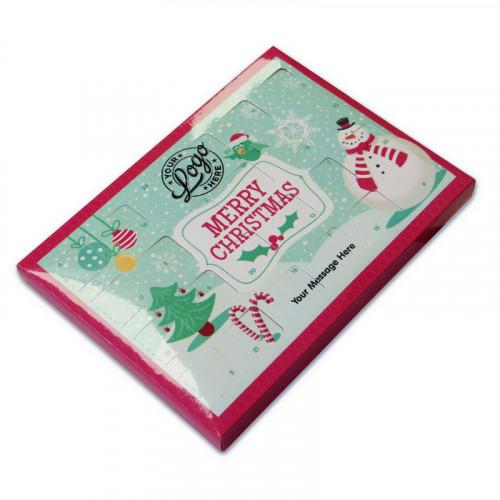 Promotional Desktop Milk Chocolate (Foiled Tray Advent Calendar with A Jolly Christmas Snowman Character - 48g