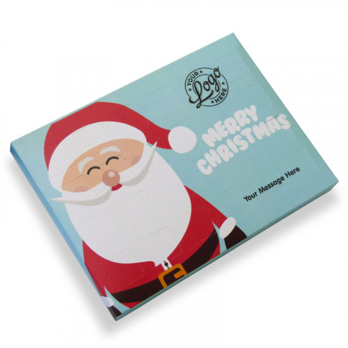 Promotional Desktop Milk Chocolate (Foiled Tray) Advent Calendar with Ho-Ho-Ho! Jolly Father Christmas - 48g