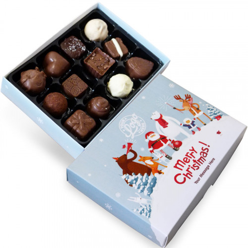 Promotional 12 Chocolate Assortment Presented in a Snowy Fun With Santa & Friends Merry Christmas Box