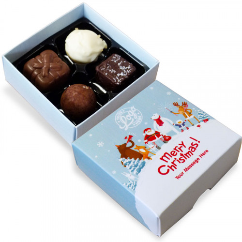Promotional 4 Chocolate Assortment Presented in a Snowy Fun With Santa & Friends Merry Christmas Box