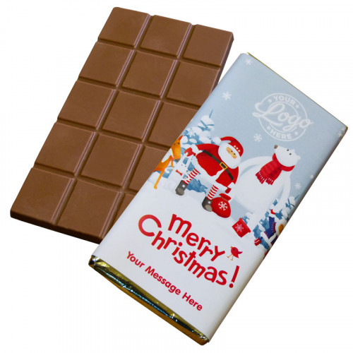 Promotional Milk Chocolate 80g Bar Wrapped in Silver Foil Finished with Snowy Fun With Santa & Friends Merry Christmas Wrapper
