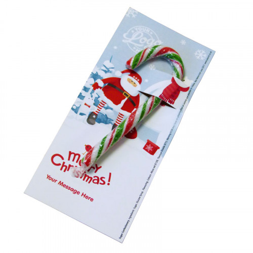 Promotional Red, White & Green Candy Cane Presented On a Snowy Fun With Santa & Friends Merry Christmas Printed Insert Card