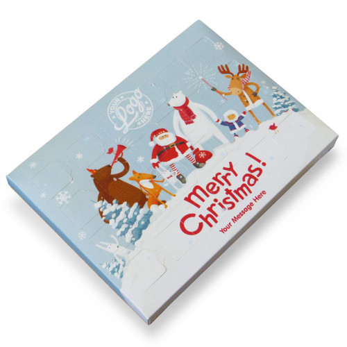 Promotional Desktop Milk Chocolate (Foiled Tray) Advent Calendar with A Snowy Fun With Santa & Friends Merry Christmas - 48g