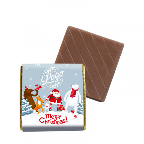 Promotional Milk Chocolate Neapolitan Wrapped in Silver Foil Finished with Snowy Fun With Santa & Friends Merry Christmas Wrapper