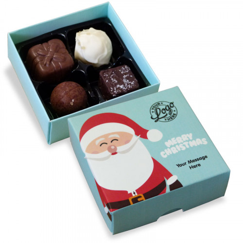 Promotional 4 Chocolate Assortment Presented in a Ho-Ho-Ho! Jolly Father Christmas Box