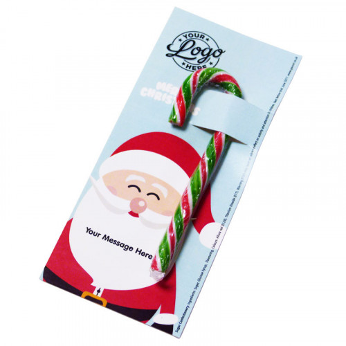 Promotional Red, White & Green Candy Cane Presented On a Ho-Ho-Ho! Jolly Father Christmas