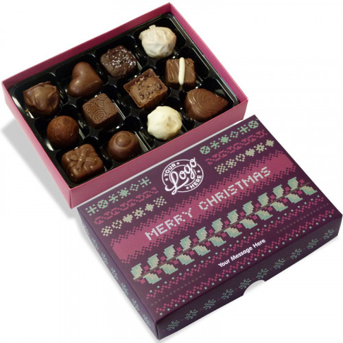 Promotional 12 Chocolate Assortment Presented in a Christmas Jumper Design Box