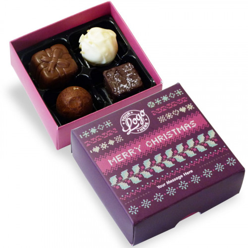 Promotional 4 Chocolate Assortment Presented in a Christmas Jumper Design Box