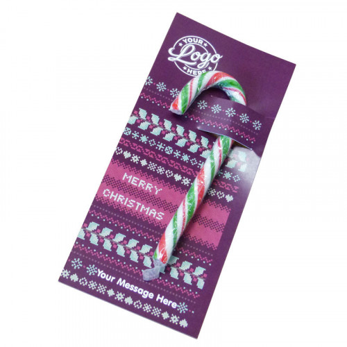 Promotional Red, White & Green Candy Cane Presented On a Christmas Jumper Design Printed Insert Card