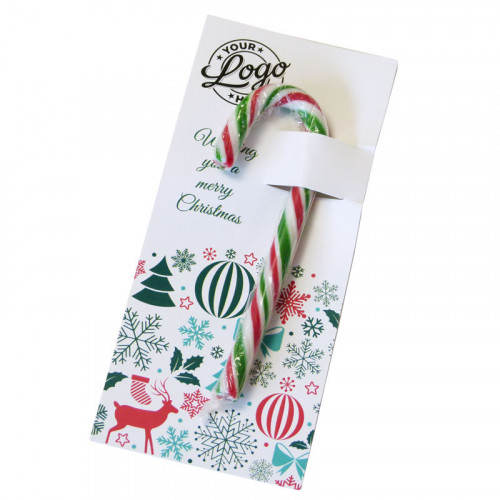 Promotional Red, White & Green Candy Cane Presented On a Contemporary Christmas Wishes Insert Card