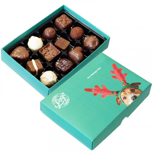 Promotional 12 Chocolate Assortment Presented in a Cute Dog Wearing Reindeer Antlers Box
