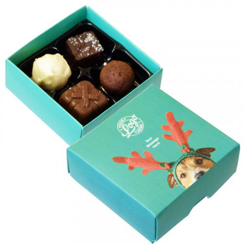 Promotional 4 Chocolate Assortment Presented in a Cute Dog Wearing Reindeer Antlers Box