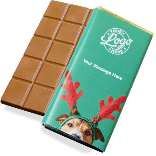 Promotional Milk Chocolate 80g Bar Wrapped in Gold Foil Finished with A Cute Dog Wearing Reindeer Antlers Wrapper