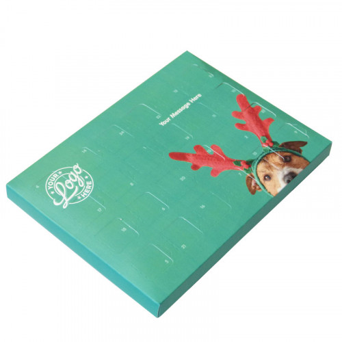 Promotional Desktop Milk Chocolate (Foiled Tray) Advent Calendar with A Cute Dog Wearing Reindeer Antlers - 48g