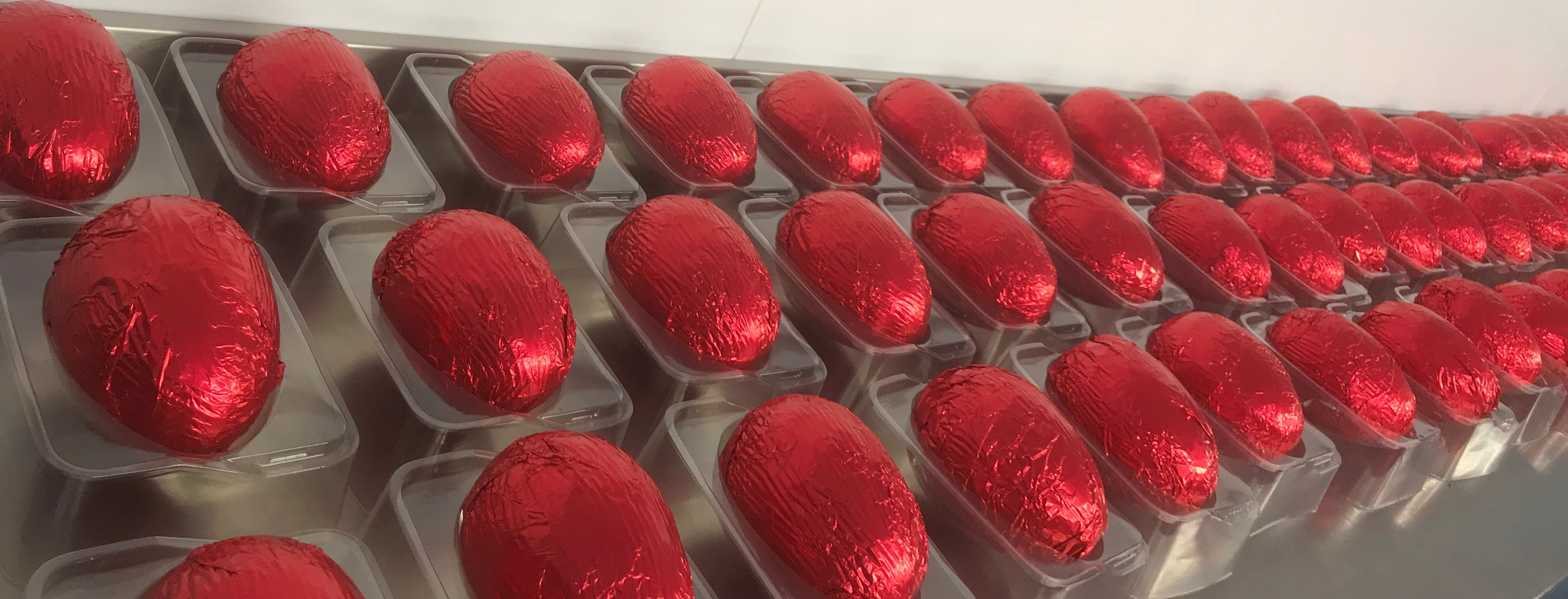 Foil wrapped chocolate easter eggs at Hames Chocolate Factory