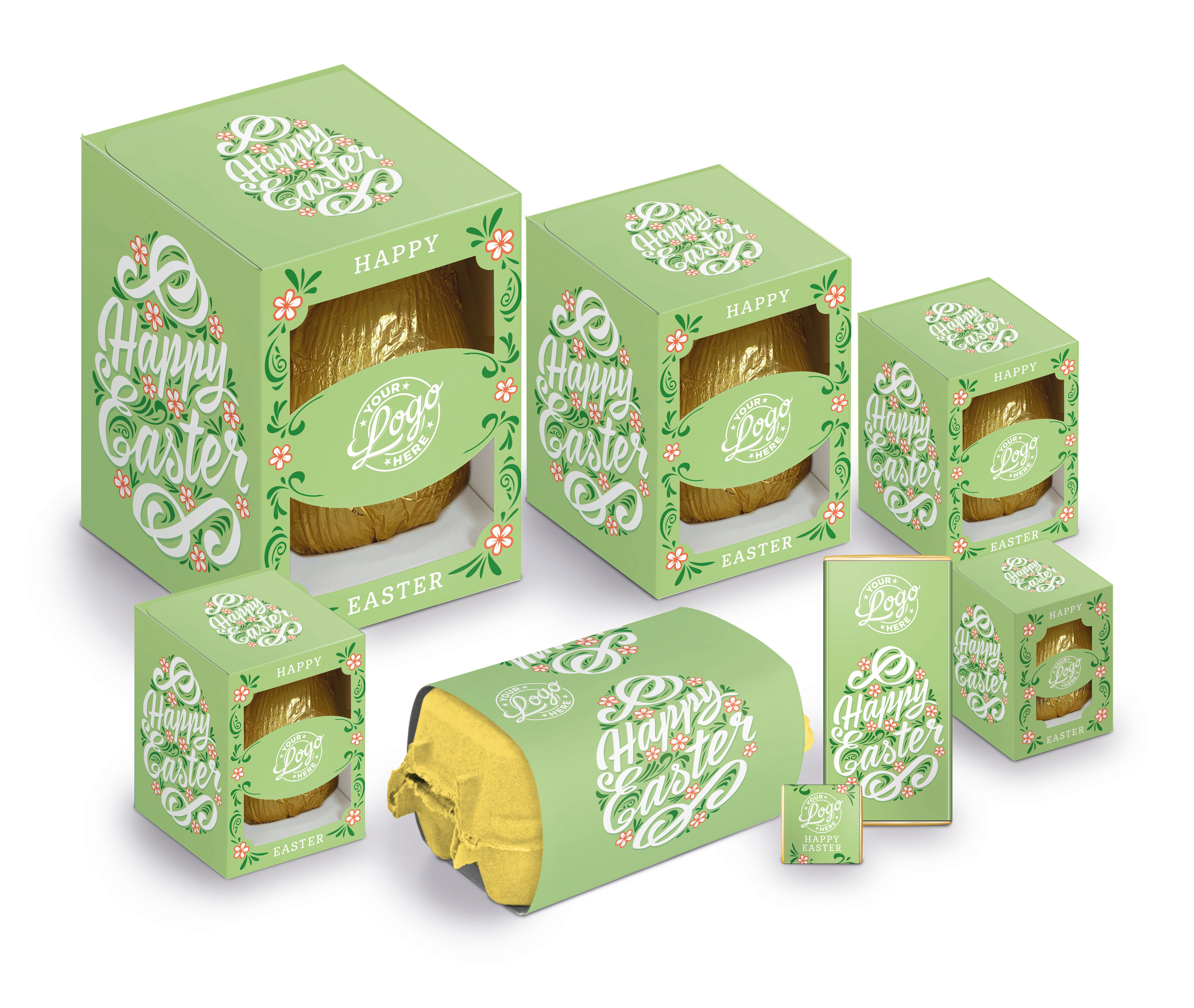 Private label chocolate Easter Eggs in a range of sizes
